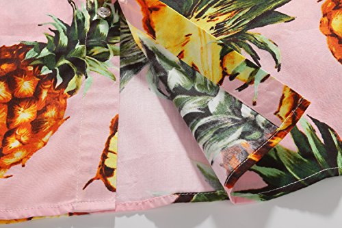 SSLR Herren Ananas Button Down Hawaii Style Kurzarm Freizeit Hemd Rosa