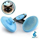 Bluepet Katzenbürste Hundebürste mit Click Clean Selbstreinigend | Fellbürste für Katzen, Hunde, Kleintiere | Kurzhaar bis Langhaar | Sanfte Zupfbürste mit Softbürsten