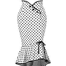beautyjourney Falda de Lunares con Botones, Falda Elegante del lápiz de la Colmena de Las