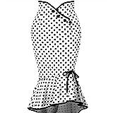 beautyjourney Falda de Lunares con Botones, Falda Elegante del lápiz de la Colmena de Las Mujeres Falda de cóctel Apretada Fiesta