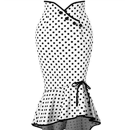 Falda para Mujer,Lenfesh Falda Retro Ruffles de Mujer con Volante Falda de Bodycon Largo Vintage Falda de Cola de Pescado Estampado de Lunares Elegantes de Cóctel Fiesta Noche