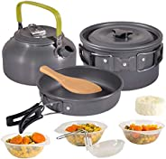 KH Camping Cooker Set Camping Pot Outdoor Cookware Set Equipment Mountaineering Pot Aluminum Cooker BBQ Tablew