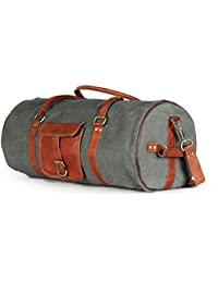 Round 100% Genuine Leather And Dark Grey Canvas Duffel Bag Travel Luggage Bag