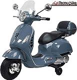 Tecnobike Shop Moto Elettrica Piaggio per Bambini Vespa GTS B70592 con Parabrezza e Bauletto Rotelle 12V luci LED Suoni (Grigio)