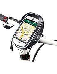 Rocontrip sacoche de vélo, écran tactile de cadre avant Pochette avec support pour téléphone portable pour iPhone 76S étanche, Sac de guidon de vélo pour le vélo, la moto ou les cyclistes