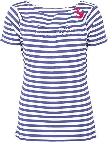 Küstenluder Damen Oberteil Adelina Anker Shirt Blau 2XL - Weiß Gestreiften Rock Und Blau