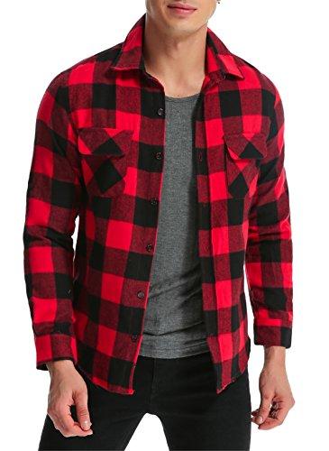 MODCHOK Hombre Camisa a Cuadros Casual de Franela Manga Larga Shirt Algod¨®n Slim Fit?Negro Rojo L