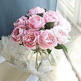 Romantische Rose, Frashing Unechte Blumen Blumenrebe Künstliche Deko Blumen Gefälschte Blumen Seidenrosen Plastik Braut Trockenblumen für Haus Garten Party Simulation Blumen (Rosa)