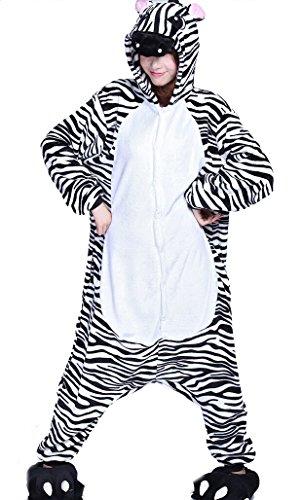 SMITHROAD Erwachsene Kigurumi Kostüm Pyjama Schlafanzug Jumpsuit Tierkostüm Hausanzug S-XL Zebra