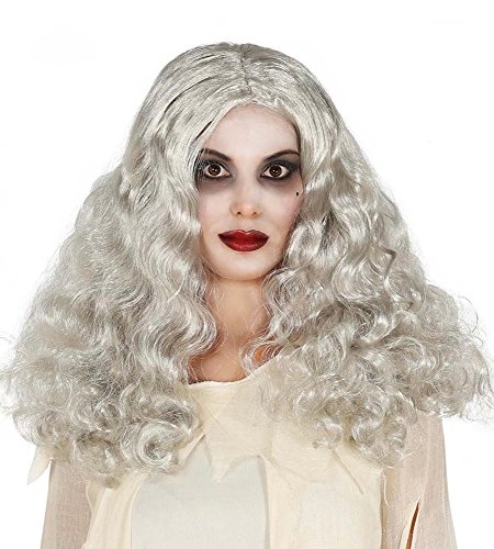 shoperama Lange Halloween Damen-Perücke grau mit Wellen Hexe Geist Zombie Langhaar Locken