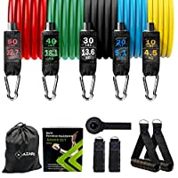 Mazari Resistance Bands Set 11 Pieces,tube Band Stakable Up to 150lb Workout Bands With Door Anchor,handle & Ankle Straps for Legs Excersice, Physical Therapy Home Workouts Equipment With Stretch Band