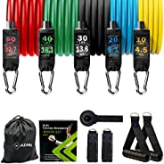 Mazari Resistance Bands Set 11 Pieces,tube Band Stakable Up to 150lb Workout Bands With Door Anchor,handle &am