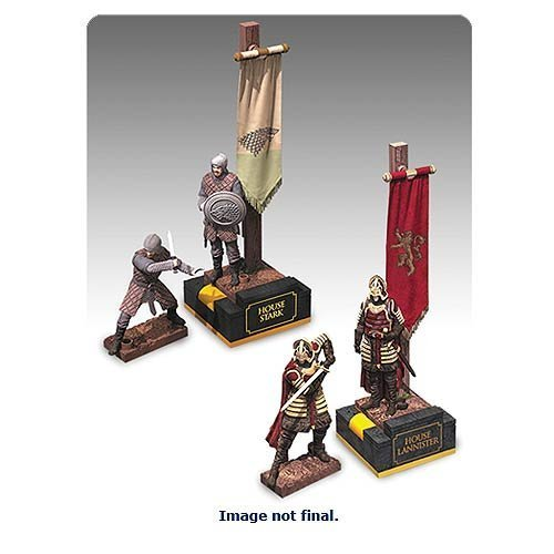 Image of Game of Thrones Banner Pack Stark And Lannister Construction Set of 4 by McFarlane Toys