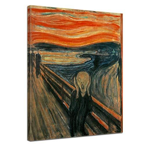 Leinwandbild Edvard Munch Der Schrei - 40x50cm hochkant - Wandbild Alte Meister Kunstdruck Bild auf Leinwand Berühmte Gemälde - Gestaltung Der Landschaft