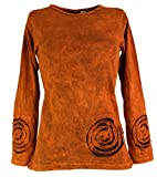 Guru-Shop Langarmshirt Spirale, Damen, Orange, Baumwolle, Size:S (36), Pullover, Longsleeves & Sweatshirts Alternative Bekleidung