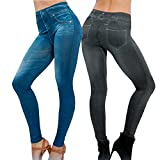 Lot de 2 Leggings Noir + Bleu Femme Jegging Skinny Slim Collant Extensible Push Up Fesse Pantalon de Crayon Cadeau Noël(L/XL 40/44, Noir+Bleu)