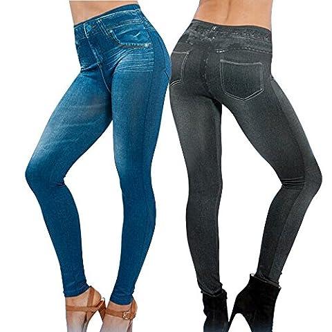 Lot de 2 Leggings Noir + Bleu Femme Jegging Slim Skinny Collant Extensible Push Up Fesse Pantalon de Crayon Cadeau Noël (XXL 44-50, Noir+Bleu)