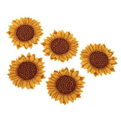 chiwanji 5 Stücke Sonnenblumen Muster Applikationen Kleidung Stickerei Patches Stoff Aufkleber Eisen Auf Nähen Auf Flecken Handwerk Nähen Reparatur Bestickt - 60 × 58 mm -