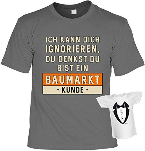 lustiges witziges T-Shirt Funshirt Leiberl mit Mini Shirt - Geburtstag Geschenk Geschenkidee Weihnachten Papa Freund Karneval Anthrazit