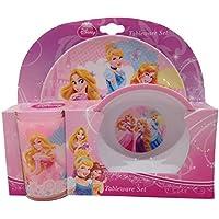 Disney - Set di stoviglie in melamina, 3 pz, motivo: Principesse Disney
