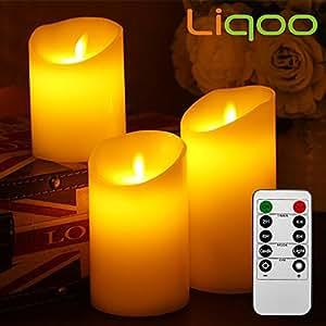 Liqoo Set di 3 Candele a LED Senza Fiamma in Vera Cela con Telecomando e Timer Luce Decorativa Alimentazione dalle 3 Pile AAA Decorazioni per Natale Feste Matrimonio Compleanno Casa Giardino Esterno