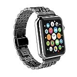 Correa para Apple Watch 42mm, GOSCIEN iWatch Correa de Acero Inoxidable Reemplazo de Banda de la Muñeca 165-225 mm con Metal Corchete para Apple Watch serie 3 /serie 2 / serie 1 - negro