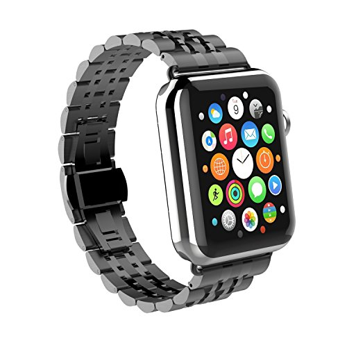 GOSCIEN Correa para Reloj de Apple de acero inoxidable con hebilla de metal de Doble Botnets Pulsera para Apple Watch 42mm