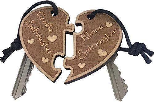 endlosschenken Schlüsselanhänger Grosse Schwester - Kleine Schwester doppelseitige Gravur aus Holz sehr Gute Qualität