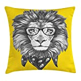 KAKICS Vintage Modern Throw Pillow Cushion Cover, Hipster Lion with Glasses and Skull Scarf Hand Drawn Animal Portrait, Decorative Square Accent Pillow Case, 18 X 18 inches, Grey and Yellow