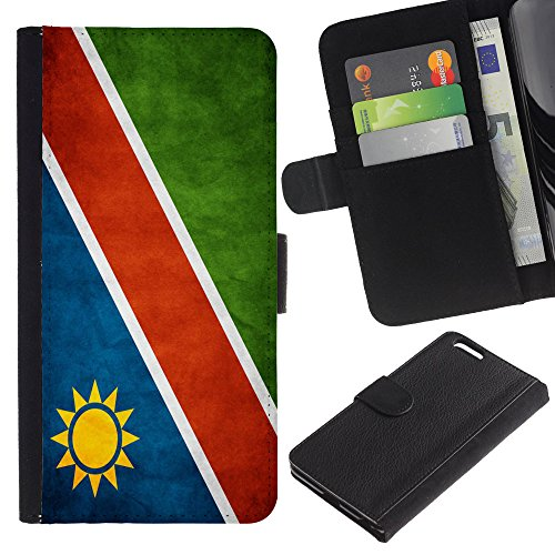 "Graphic4You Vintage Uralt Flagge Von Südafrika South Africa Design Brieftasche Leder Hülle Case Schutzhülle für Apple iPhone 6 Plus / 6S Plus (5.5"") Namibia Namibisch"