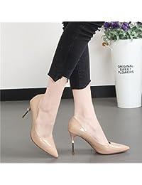 Xue Qiqi Punta del high-Heel Shoes superficial fina y boca rojo salvaje carrera singles femeninos zapatos,35,...