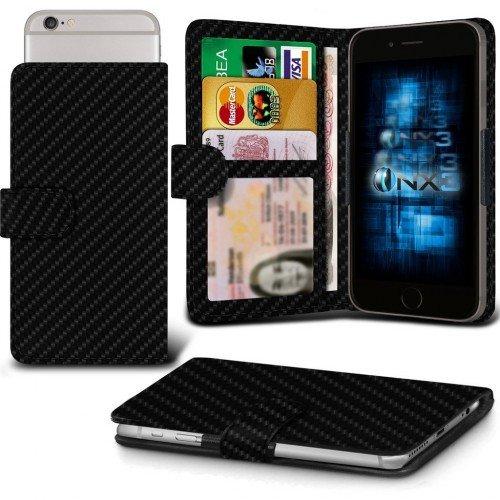 Galaxy A7 / Galaxy A7 Duos Titular de la tarjeta identificación de la carpeta de muelle ajustable cubierta de la caja (Carbon Fibre) Plus de regalo libre, Protector de pantalla y un lápiz óptico, Solicitar ahora mejor caja del teléfono Valorado en Amazon! By FinestPhoneCases