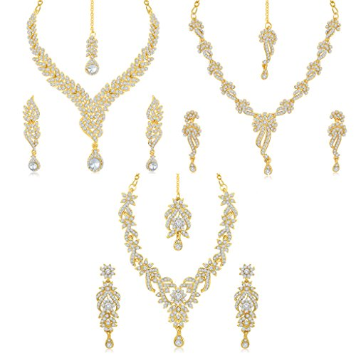 sukkhi-brass-gold-3-pieces-strand-necklace-with-earrings-set-for-women