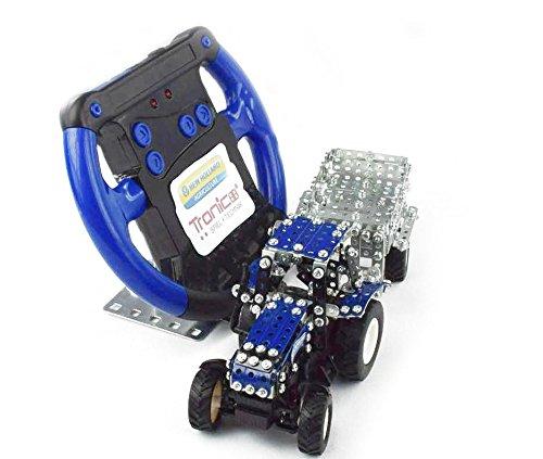 RC Auto kaufen Traktor Bild 3: Tronico 09561 - Metallbaukasten Traktor New Holland T5-115 mit Kippanhänger und Fernsteuerung, Maßstab 1:64, Micro Serie, blau, 454 Teile*