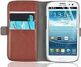 JAMMYLIZARD Schutzhülle Galaxy S3, Schutzhülle Luxury Wallet Bookstyle Ledertasche für Samsung Galaxy S3und S3NEO, braun