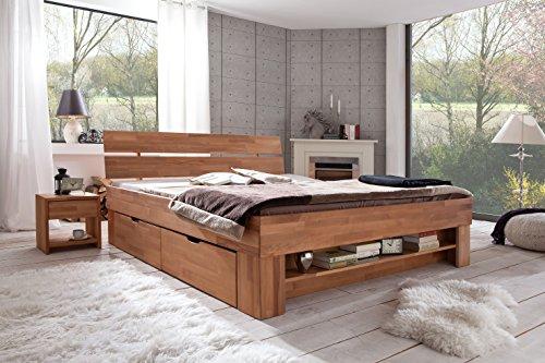 Futonbett SOFIE 140 x 200 cm, Holz Bett aus Buche massiv, Kernbuche geölt, Naturholz Bett mit Bettkasten auf Rollen und mit Fußteilregal