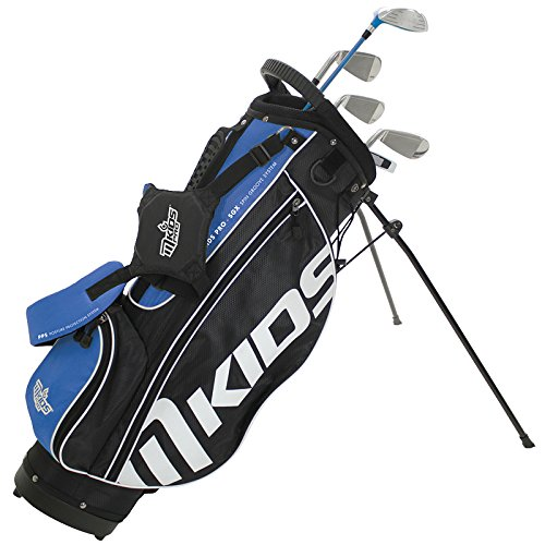 Mkids Junior Golf Pro pacchetto set di stand bag, fairway legno metallo, 6 & 8 ferri, pitching wedge, AGM, putter, copritesta in blu 154,9 cm, unisex, Right, Blue, 61-Inch