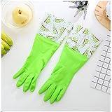 Moda De La Piel Engrosada Guantes De Trabajo De Casa Limpia Multicolor Establecen Dos Meses,Green-S