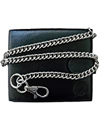 Chained Mens Mans Designer Leather Wallet - Black Credit Card Wallets With Key Belt Chain - 17 inch 43cm Chain - 4 Credit Card Slots - Buttoned Coin Pouch - by Roamlite RL506A