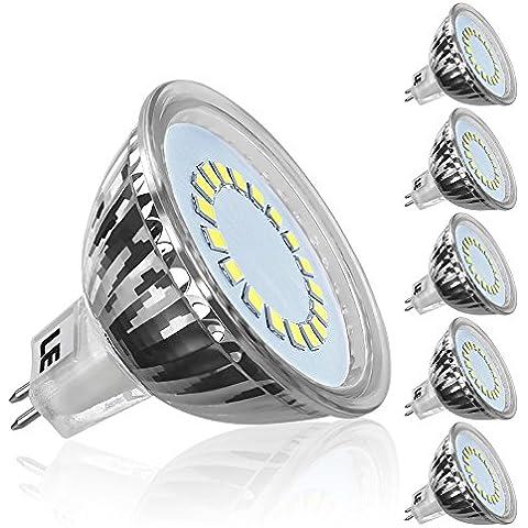 LE Bombillas LED GU5.3 3.5W = 50W Halógena, Blanco frío, MR16 Haz 120°, Voltaje 12V, Pack de 5