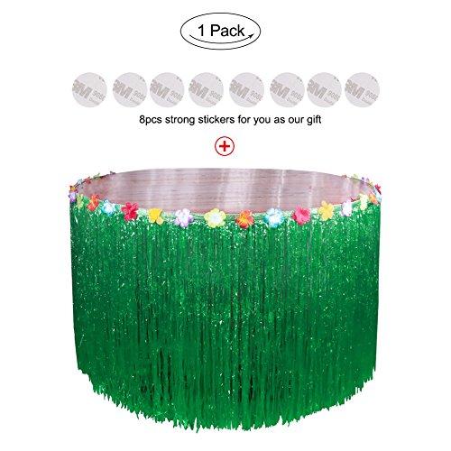 (Aytai 9ft Hawaiian Luau Kunststoff Gras Tisch Rock tropischen Tischtuch mit bunten Seide Faux Hibiscus Blumen für Tiki Bar BBQ Garten Strand Sommer Party Dekoration (Grün))