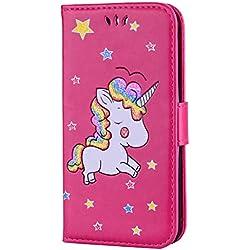 Hozor LG K7 / LG K8 étui de téléphone, Exquisite Licorne motif peinture en aérosol avec paillettes, PU cuir Flip Wallet, avec fermeture magnétique, étui de protection avec fente pour carte / titulaire