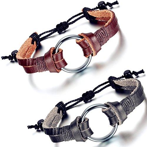 Flongo Alliage Leather Cuir Corde Bracelet Anneau Simple Tribal Tressé Réglable Bijoux Cadeau Noir Brun pour Femme Homme noir