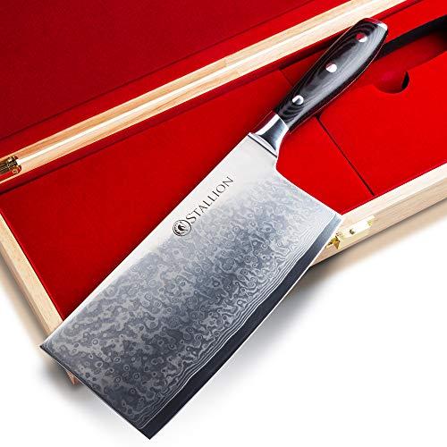 Stallion Damastmesser Wave Chinesisches Kochmesser - Messer aus Damaststahl in Edler Geschenkbox Freunde schöner Messer Chinese Cleaver