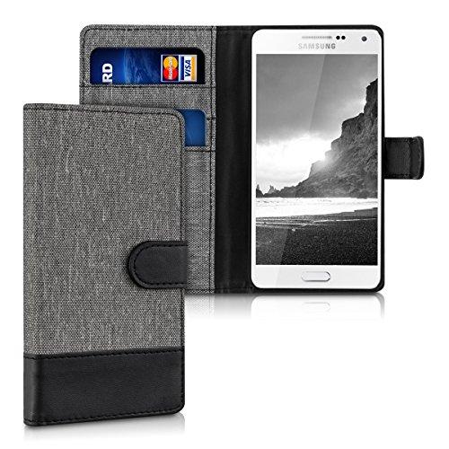 kwmobile Funda para Samsung Galaxy A5 (2015) - Wallet Case plegable de cuero sintético - Cover con tapa tarjetero y soporte en gris negro