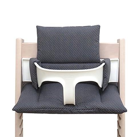 Blausberg Baby - coussin set de siège (enduit) pour chaise haute Stokke Tripp Trapp - Gris foncé anthracite petits points