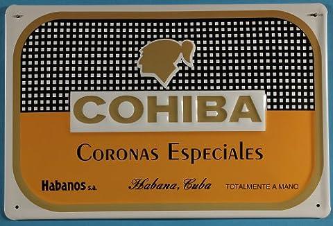 Affiche métallique humoristique especiales cigares habanos s.a. coronas rétro tabakwerbung cigare