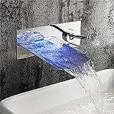 Daadi Küche bad waschbecken wasserhahn Moderne Kupfer Chrom einwandig Griff - Wasserfall Wasserhahn montiert LED