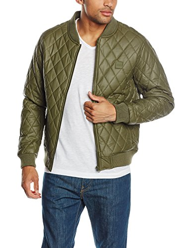 Urban Classics Diamond Quilt Leather Imitation Jacket, Blouson Homme, Olive Grün (olive 176)