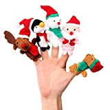 Wildlead 5PCS/set finger Puppets Toys Christmas Santa Claus Snowman Baby Stories Helper dita Kids Xmas Gift